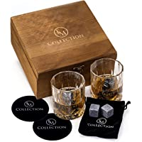 Whiskey Stones Gift Set w/ 8 Granite Chilling Whiskey Rocks, 2 Crystal Glasses & Velvet Bag by EMcollection|Reusable Cooling Ice Cubes|Chill Your Scotch & Cold Drinks|Packed in Elegant Wooden Box
