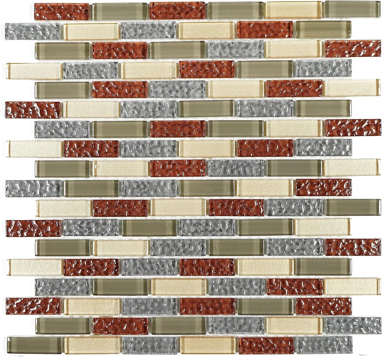- Tile Generation- TDG-02 Burgundy And Ivory Glass Mosaic Tile Sheet
