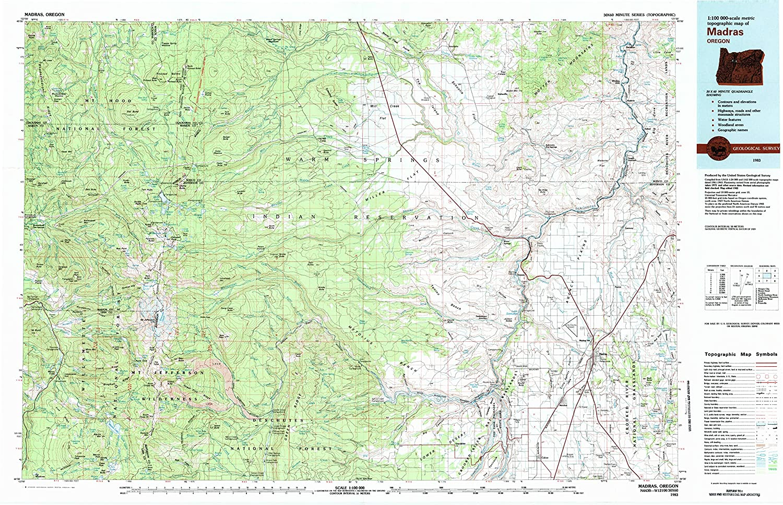 Amazon Com Yellowmaps Madras Or Topo Map 1 100000 Scale 30 X 60