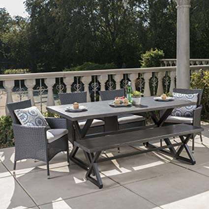 Terrific Christopher Knight Home Owenburg Outdoor 6 Piece Grey Aluminum Dining Set With Bench And Grey Wicker Dining Chairs With Silver Water Resistant Squirreltailoven Fun Painted Chair Ideas Images Squirreltailovenorg