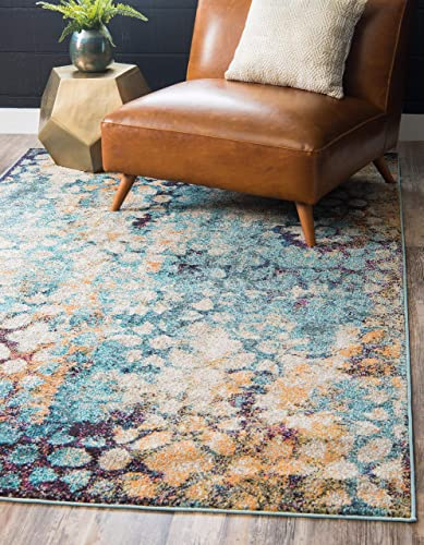 Unique Loom Vita Collection Traditional Over-Dyed Vintage Blue Area Rug 9 10 x 13 0