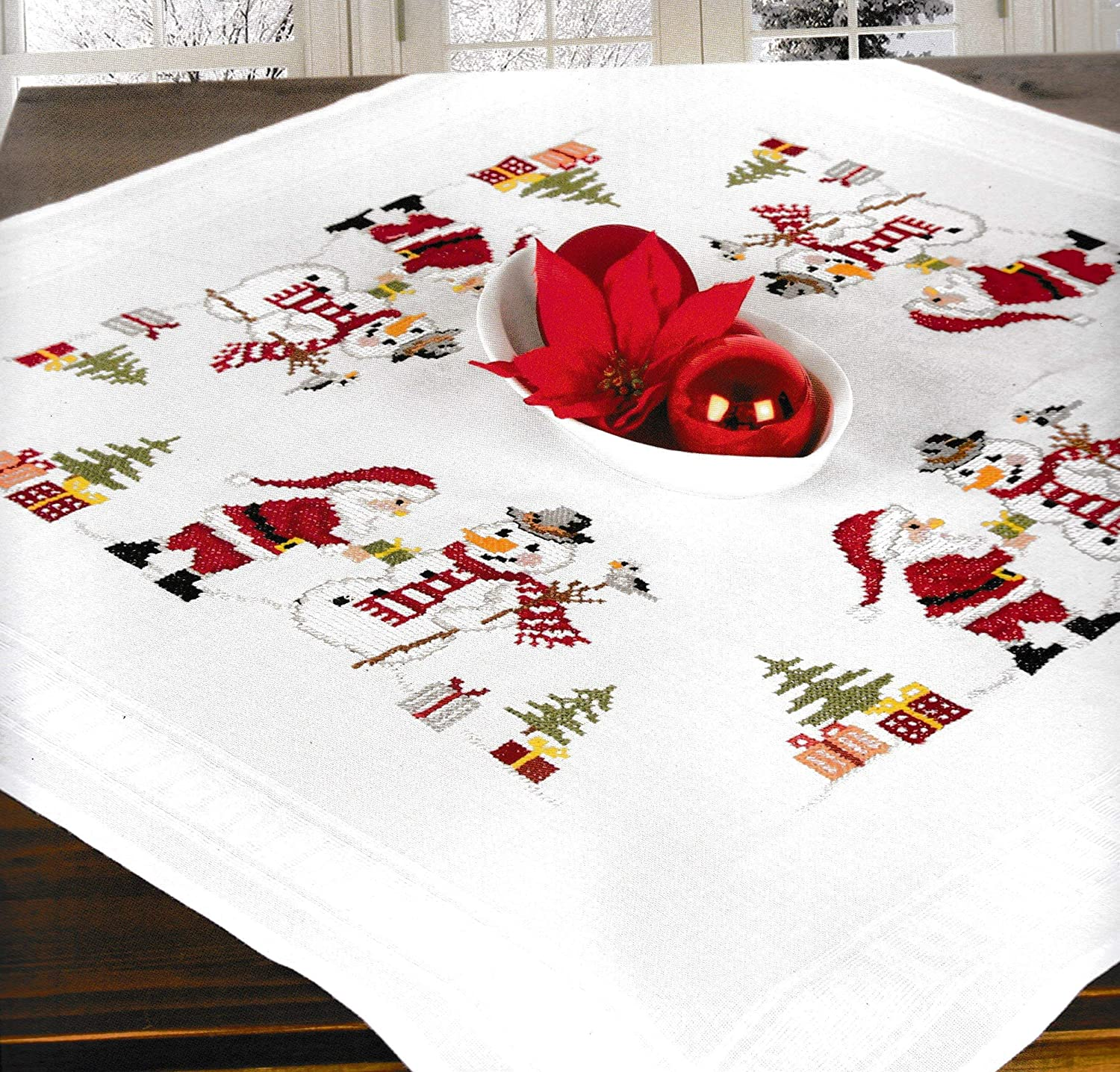Printed Stamped Cross Stitch Tablecloth Kit for Embroidery (Christmas Elf 6933) Schafer
