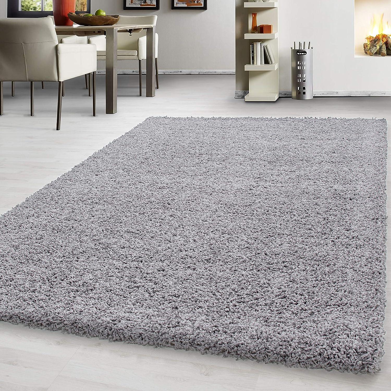 Hochflor Shaggy Teppich Wohnzimmer Wohnzimmer Wohnzimmer 3 cm Florhöhe einfarbig Teppiche mit OKOTEX, Maße 160x230 cm, Farbe Grau B01MA0PS9K Teppiche 252035