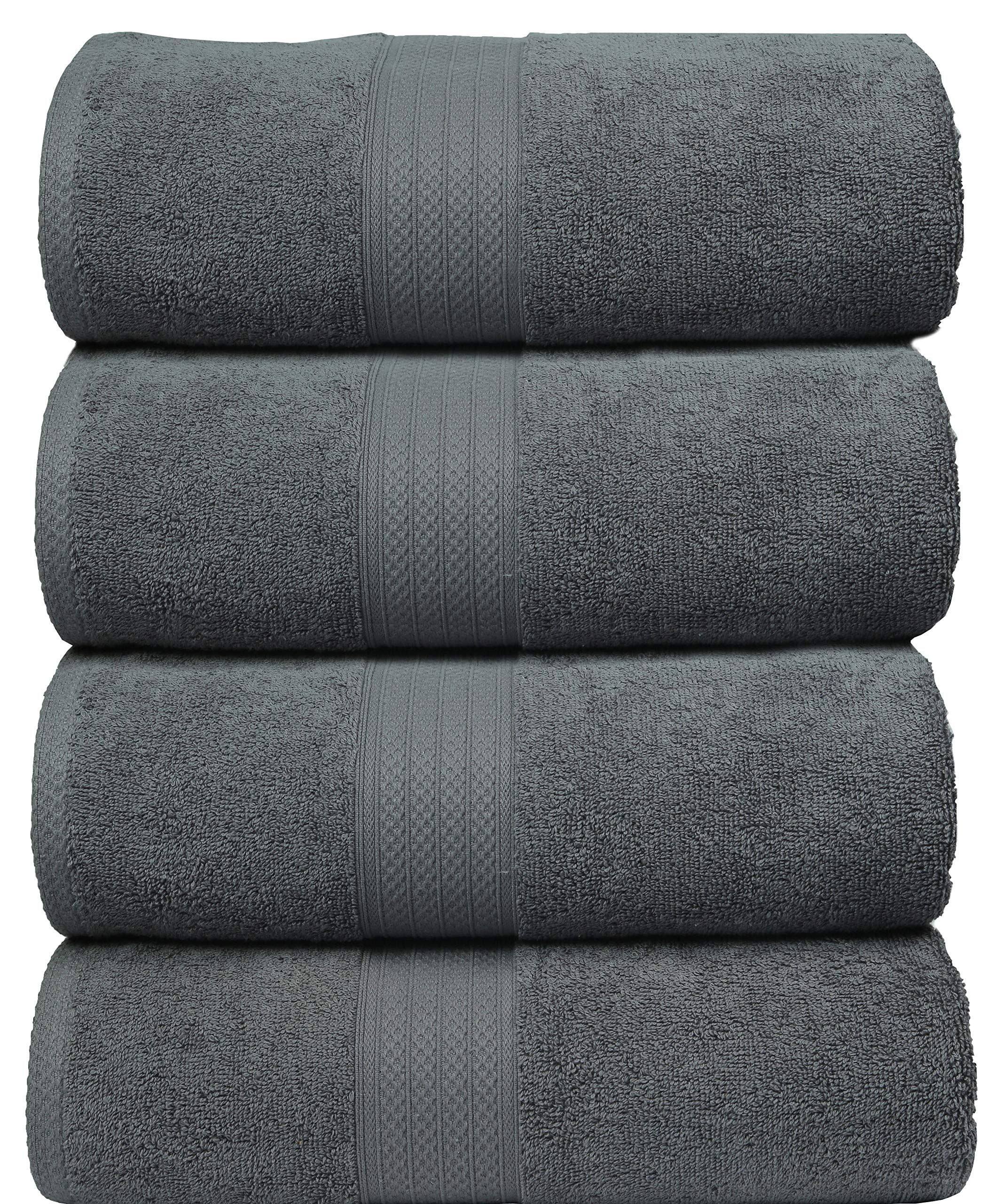 MAHI HOME Bath Towels in 100% Ring Spun Combed Cotton Luxurious & Ultra Soft,Highly Absorbent,Bathroom Towels,Bath Towel Set,Bath Towel Cotton,Bath Towel- 27x54-Charcoal Grey (Set of 4 Pieces)