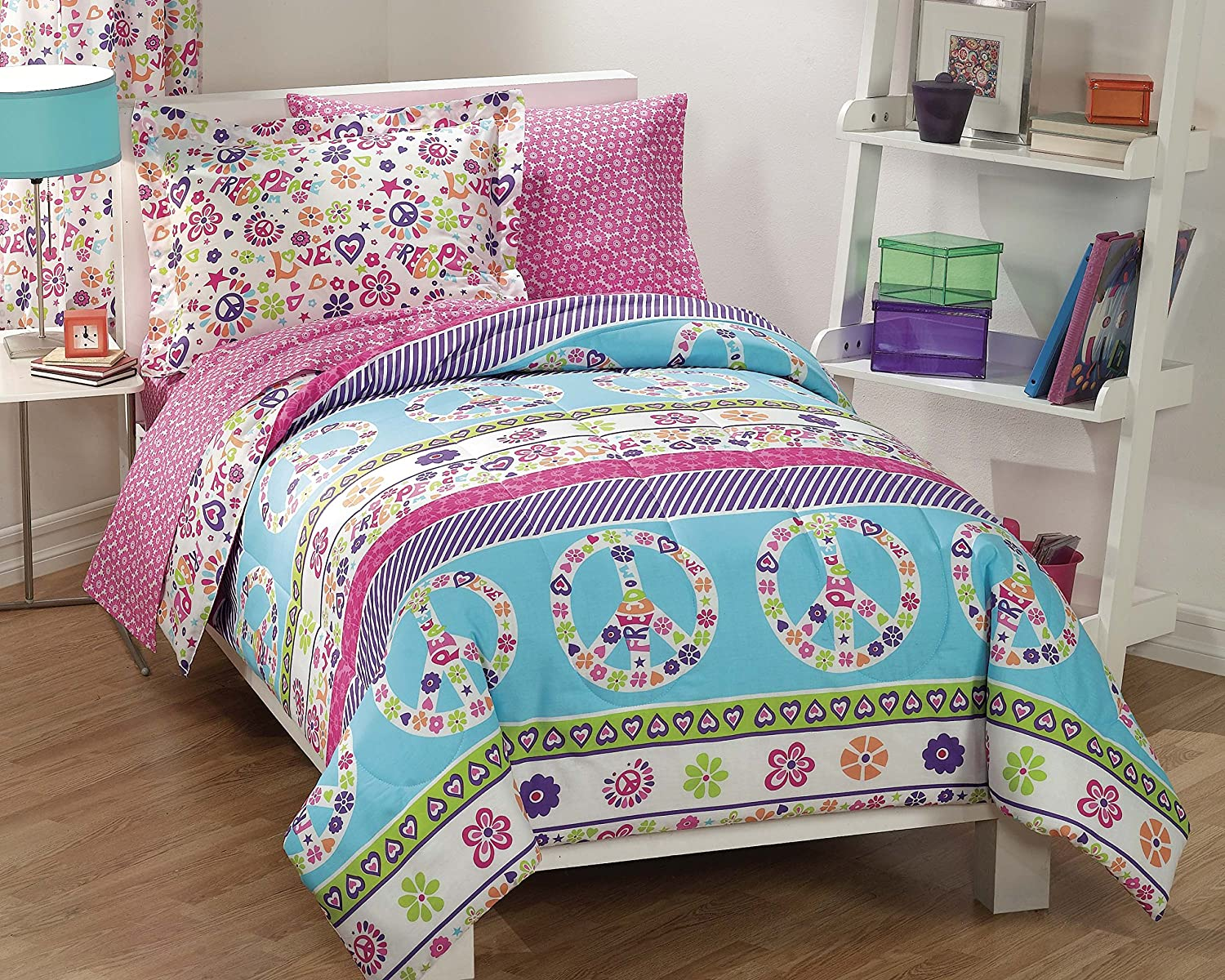 Dream Factory Peace And Love Peace Signs Girls Comforter Set, Multi-Colored, Twin