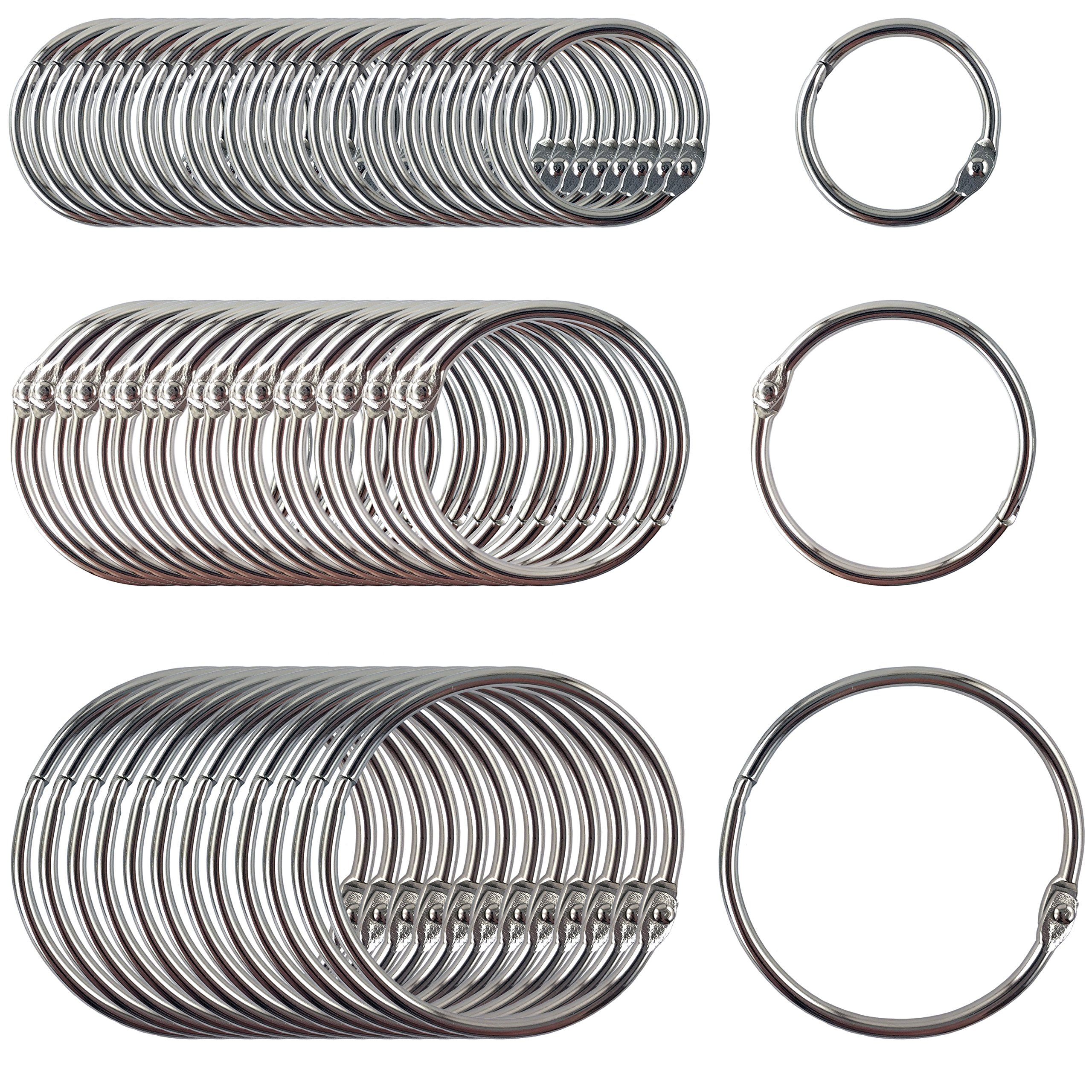 Clipco Book Rings Assorted Sizes Small, Medium and Large Nickel Plated (250-Pack) by Clipco