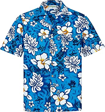Camisa Hawaiana | Hombre | Manga Corta | 100% Algodón | S - 8XL | Clasico | Flores | Azul | Hawaiiana | Hawaii: Amazon.es: Ropa y accesorios