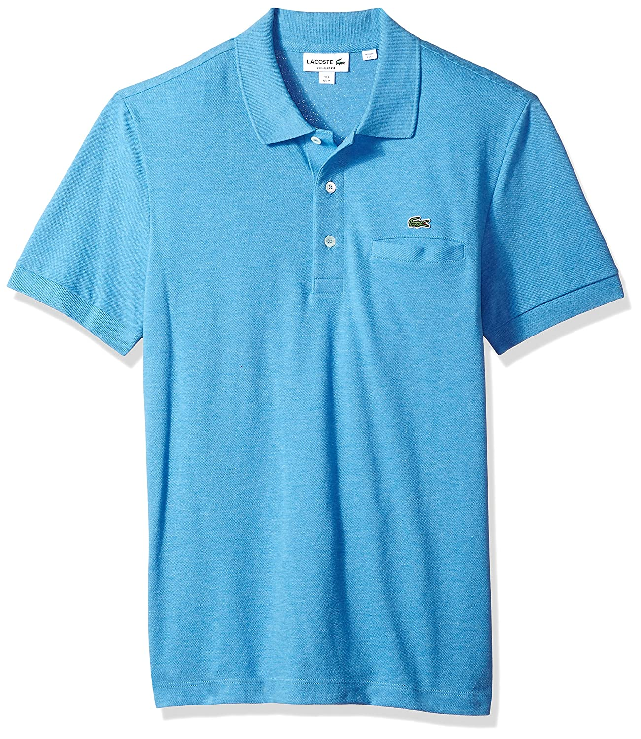 8b2199ce9a Lacoste Mens Short Sleeve Regular Fit Solid Polo with Pocket: Amazon ...