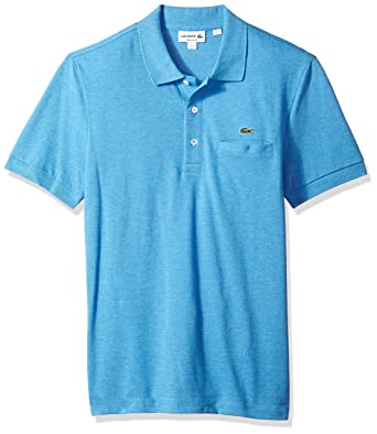 00abec01 Lacoste Men's Short Sleeve Regular Fit Solid Polo with Pocket, Blue Lagoon  Chine, XXX