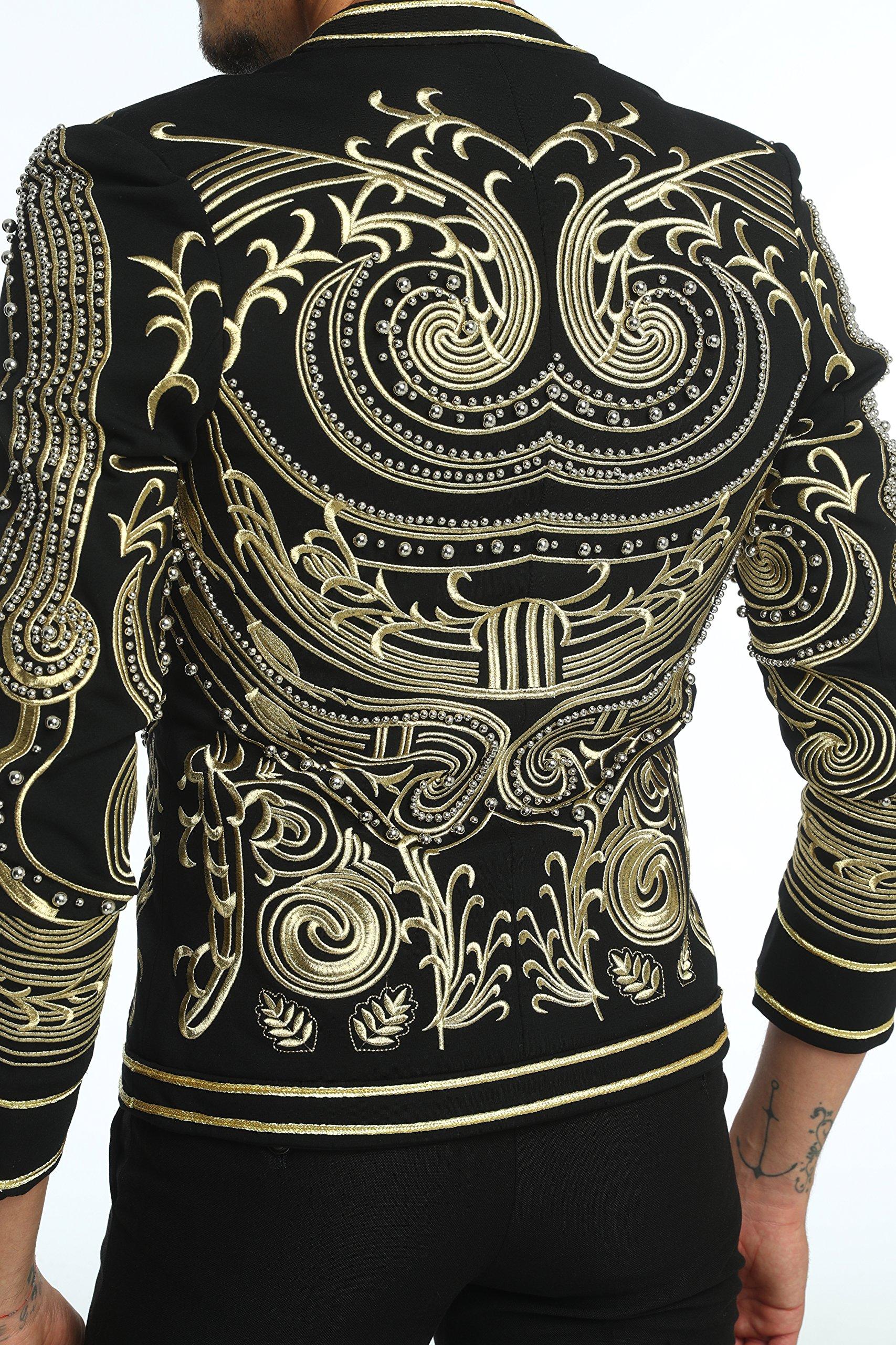 Pizoff Men's Luxury V-Neck Slim Fit Stylish Suit Blazer Jacket Long Sleeve Formal Dinner Dress AD001-02-L by Pizoff (Image #6)