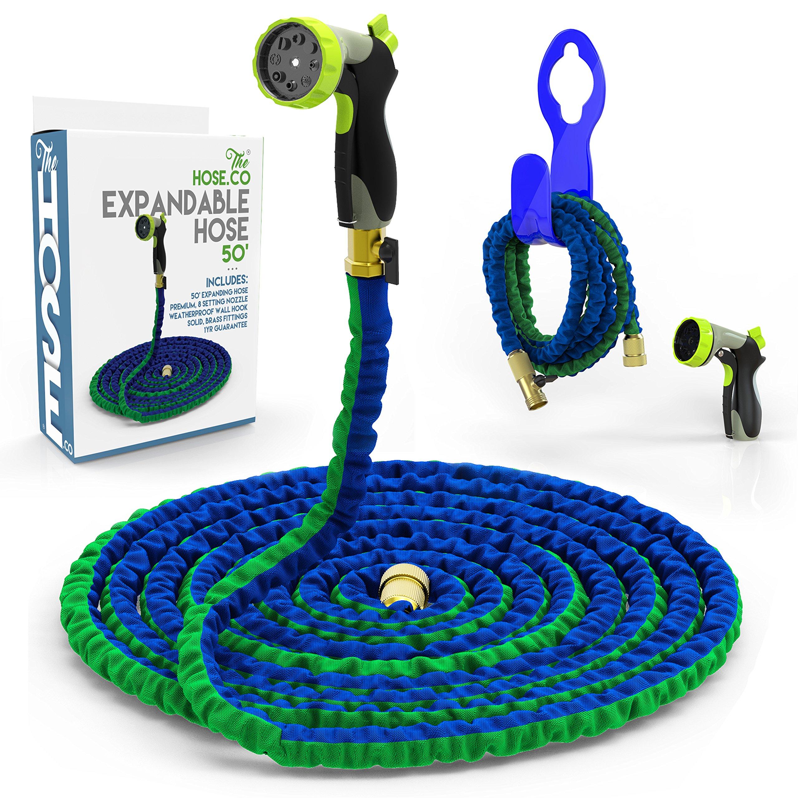 Expanding Garden Hose Kit [ The Hose Co ] Green, Blue Double Latex KinkProof Long-Lasting 50 ft Hose, Copper Fittings, 8 Function Nozzle & Bonus Wall Hook