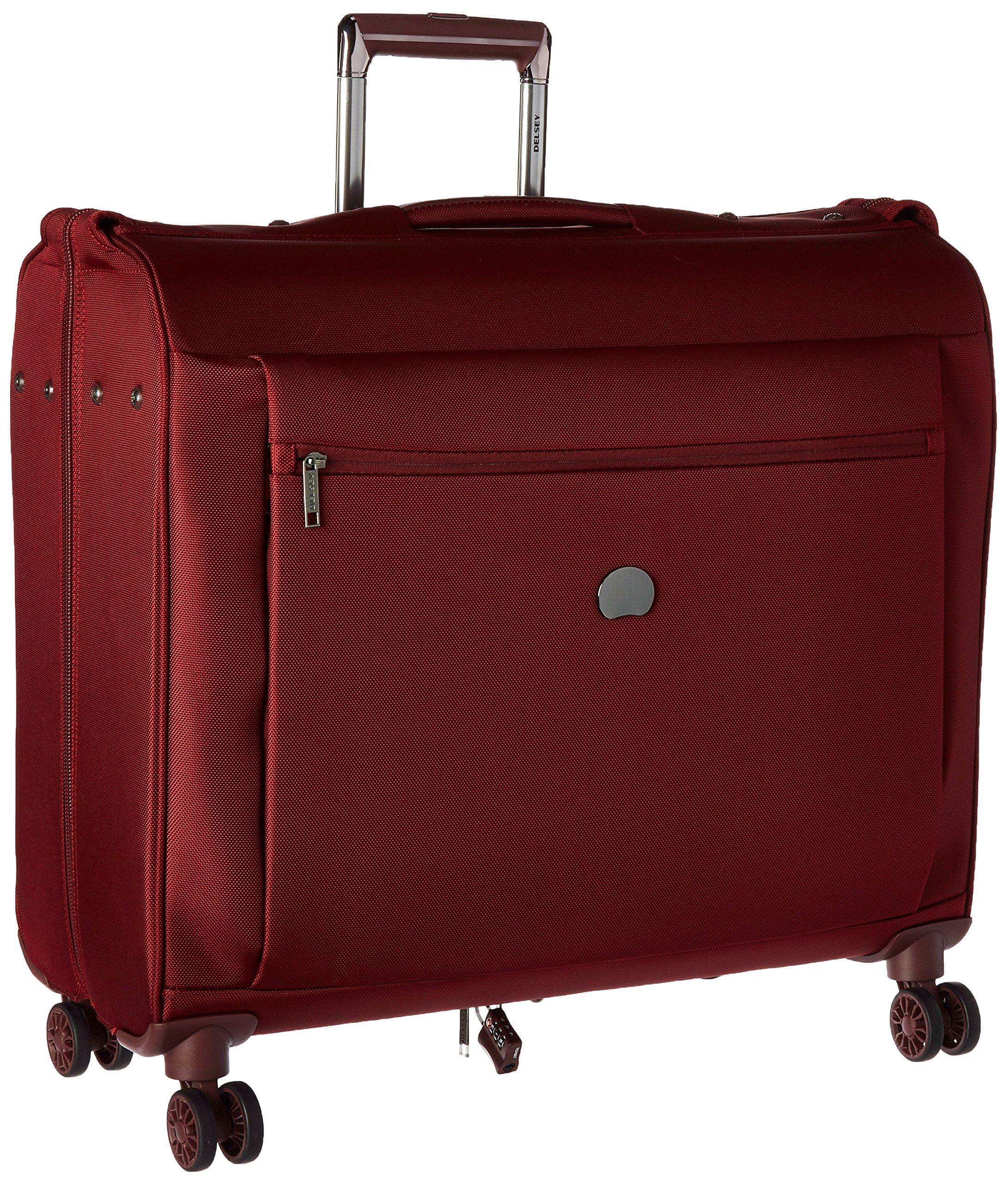 Delsey Luggage Montmartre+ 4 Wheel Spinner Garment Bag, Bordeaux Red