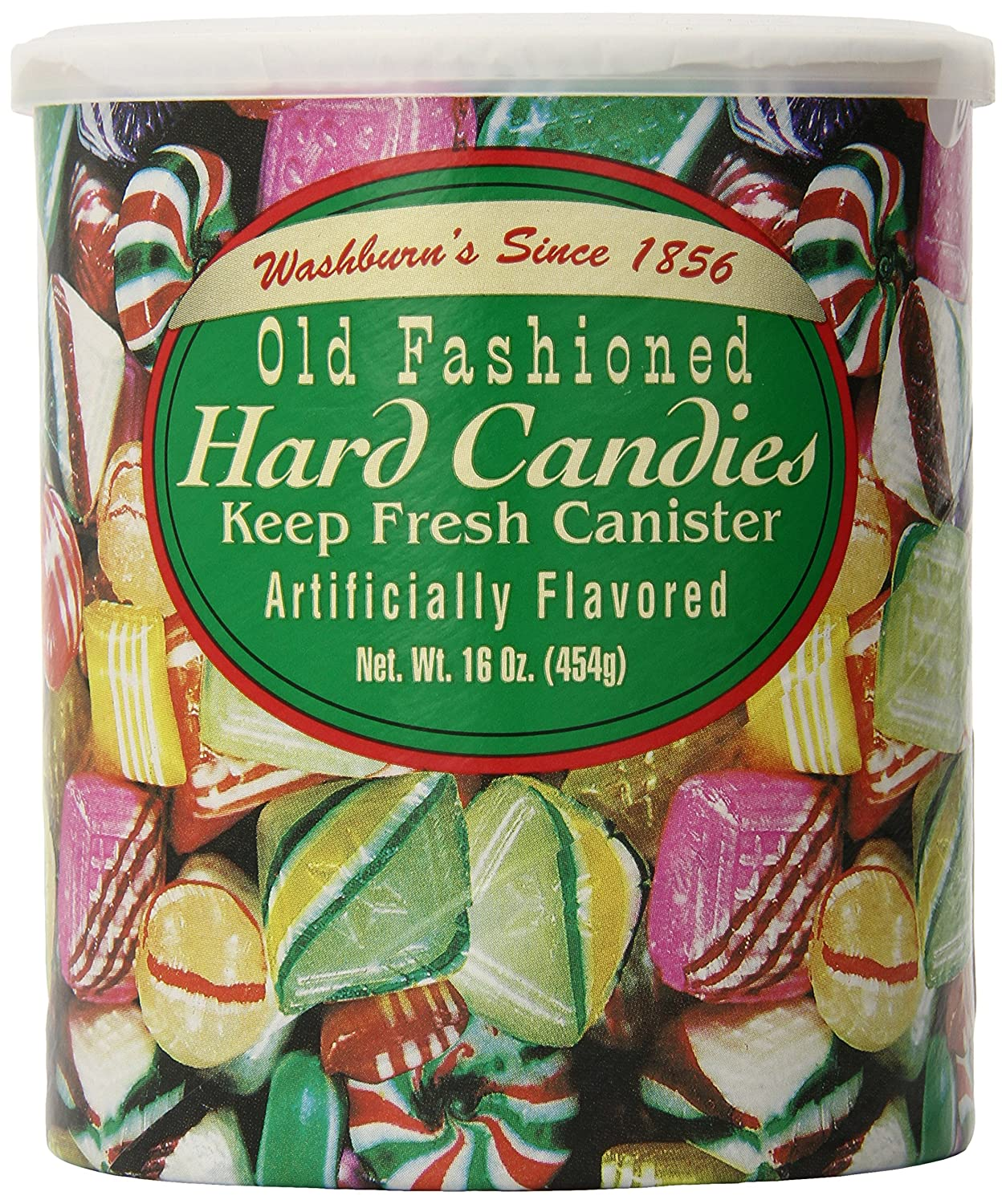 amazoncom washburns old fashioned hard candy 16 oz canister christmas candy grocery gourmet food - Christmas Hard Candy