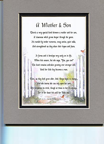 A Mother And Son Mothers Day Gift Poem Birthday Present For Mom From