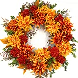 The Wreath Depot Eastbrook Silk Fall Door Wreath 22 Inch, Enhances Front Door Decor, Beautiful White Storage Gift Box