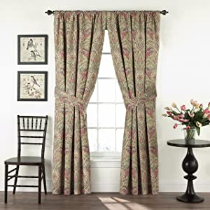 """WAVERLY Swept Away Double Panel Rod Pocket Window Treatment Privacy Curtains for Bedroom, 100""""x84"""", Berry"""