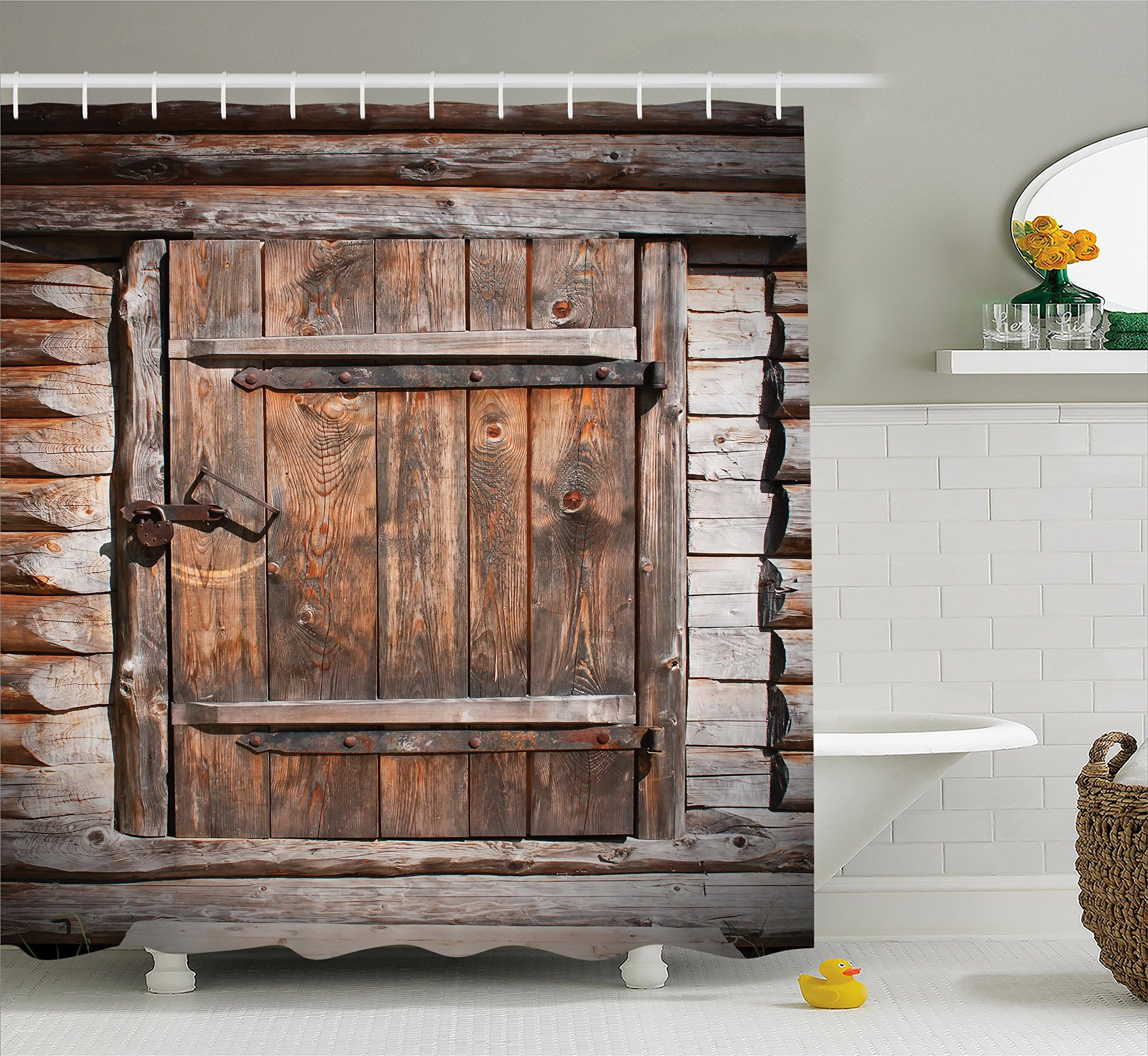 Ambesonne Vintage Shower Curtain, Rustic Wooden Door of Old Barn in Farmhouse Countryside Village Aged Rural Life Image, Fabric Bathroom Decor Set with Hooks, 84 Inches Extra Long, Brown