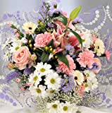 Fresh Flower Bouquet Delivered - Stunning Pastel Mixed Flowers with Scented Oriental Lilies - FREE UK Next Day Delivery in Provided 1hr Window 7 Days a Week - Gift a Beautiful Bunch of Real Cut Flowers