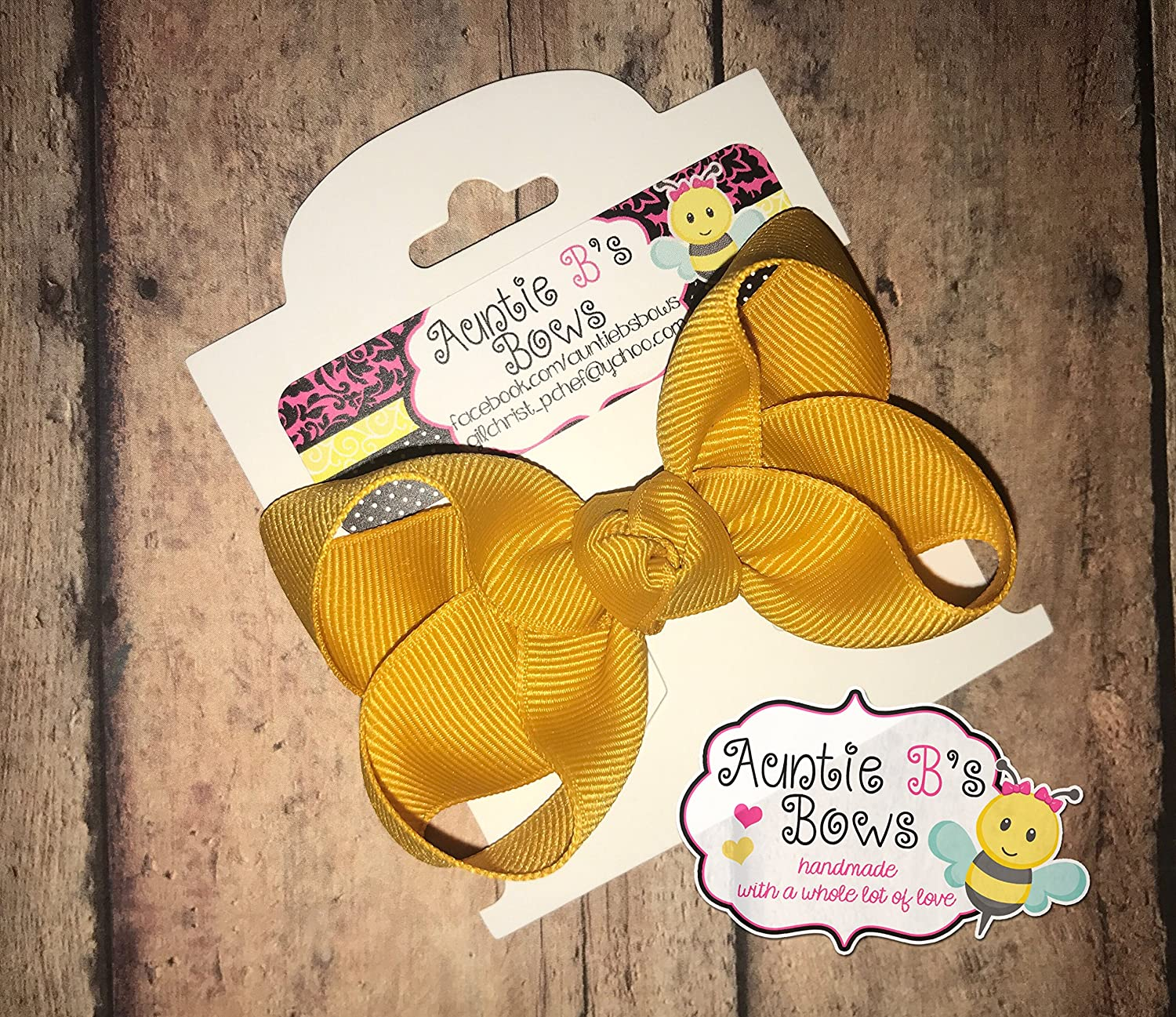 Solid Gold (Mustard) Boutique Hair Bow 3