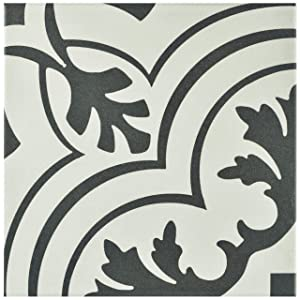 "SomerTile FRC8TWVT Fifties Ceramic Floor and Wall Tile, 7.75"" x 7.75"", White/Grey"