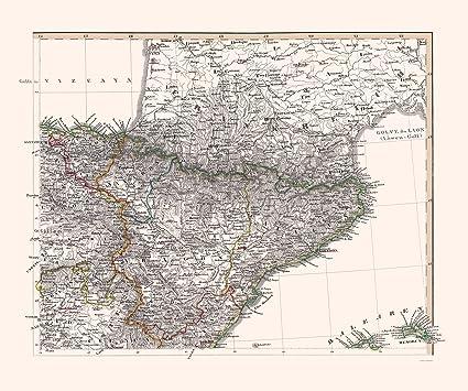 Amazon.com: Old Iberian Peninsula Map - Northeast Spain - Perthes ...
