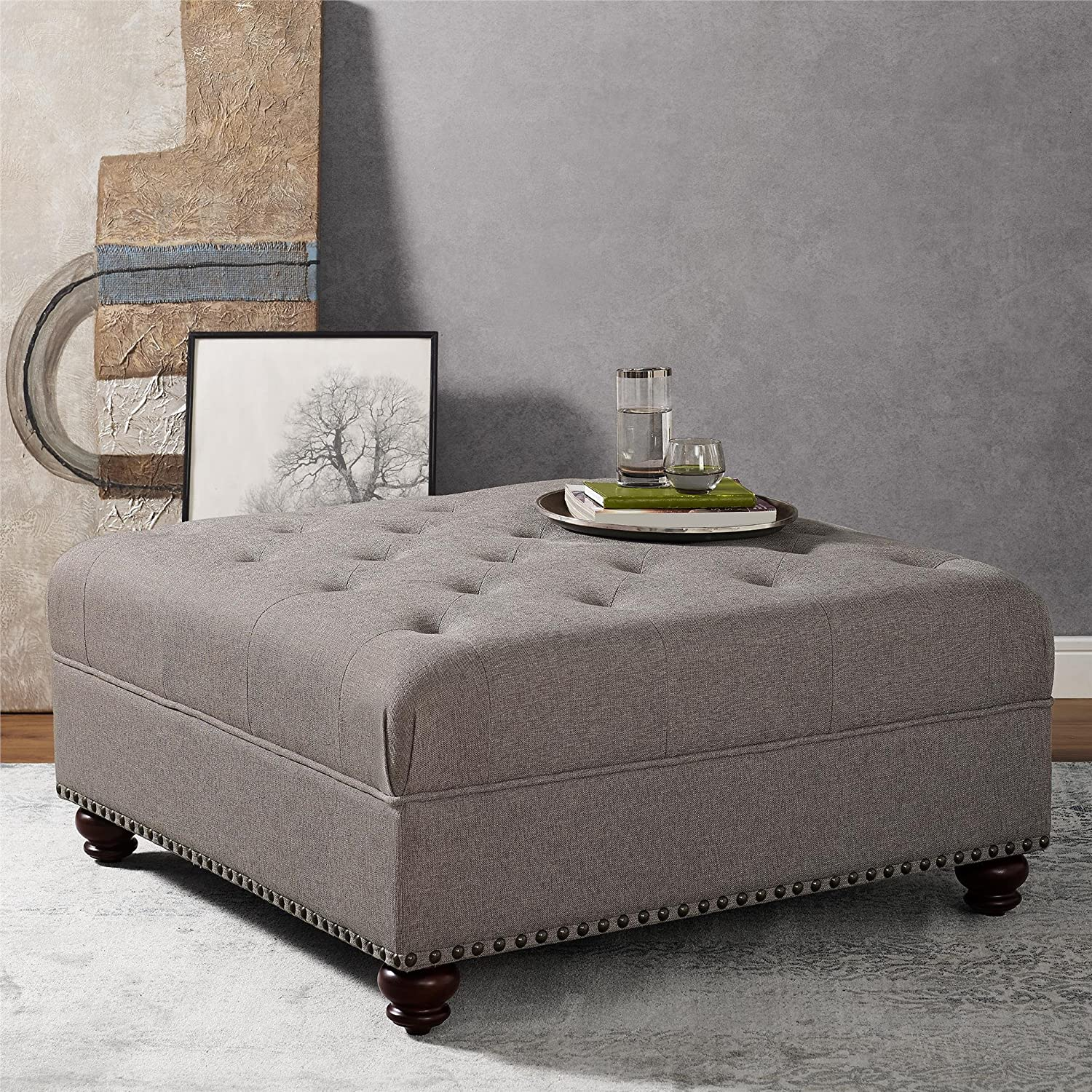 Astonishing Dorel Living Hastings Tufted Ottoman With Nailheads Beige Pabps2019 Chair Design Images Pabps2019Com