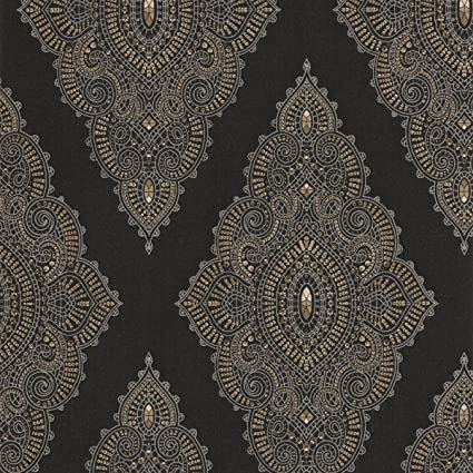 Graham Brown Fabulous Jewel Wallpaper Color Black Gold