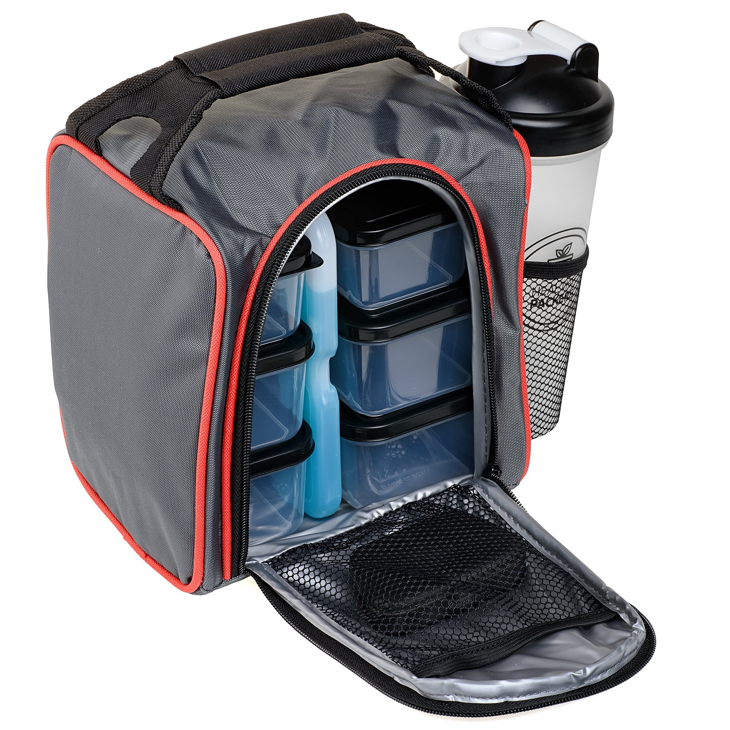 Deluxe Insulated Meal Prep Bag - Lunch Box with Portion Control Food Storage Containers + Ice Pack, Pill Box, Protein Shaker Bottle