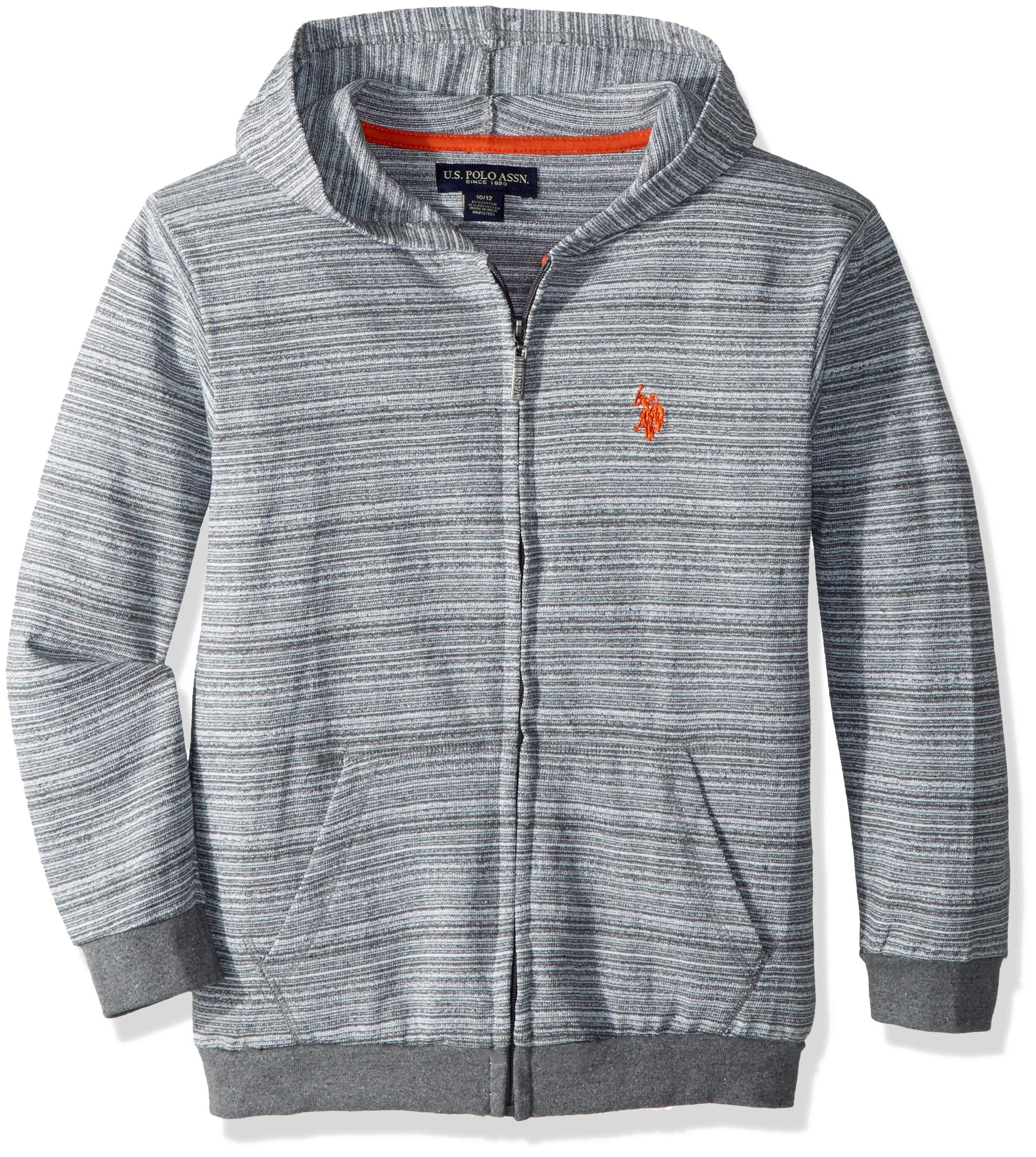 U.S. Polo Assn. Big Boys' Long Sleeve Fleece Hoodie, Lightweight Medium Grey, 18