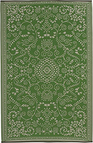 Fab Habitat Reversible Rugs Indoor or Outdoor Use Stain Resistant, Easy to Clean Weather Resistant Floor Mats Murano – Lime Green Cream 6 x 9