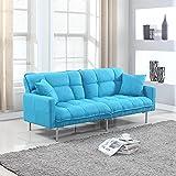 Divano Roma Furniture Collection - Modern Plush Tufted Linen Fabric Splitback Living Room Sleeper Futon (Light Blue)
