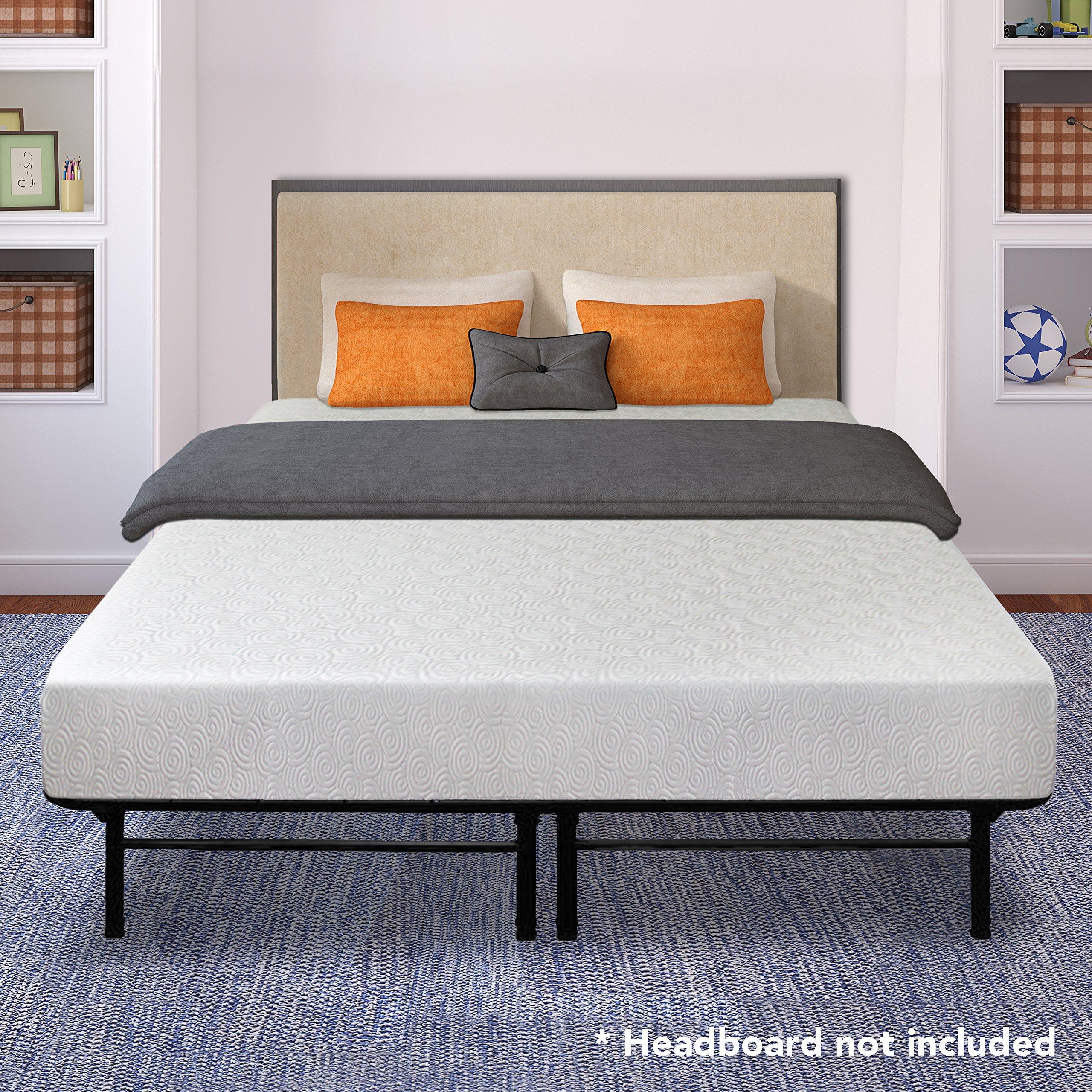 Best Price Mattress 7'' Gel Memory Foam Mattress and 14'' Dual-Use Steel Bed Frame/Foundation Set, Full