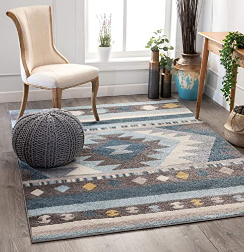 Well Woven Medallion Southwestern Blue Geometric Area Rug 5×7 5 3 x 7 3