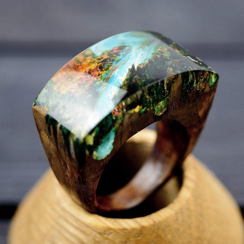 Wooden Resin Ring Forest River Wood Handmade Designer Jewelry For Women