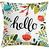 Hello Throw Pillow Cushion Cover by Ambesonne, Brush Lettering Designed Calligraphy Print of Hello on Colorful Floral Background, Decorative Square Accent Pillow Case, 18 X 18 Inches, Multicolor