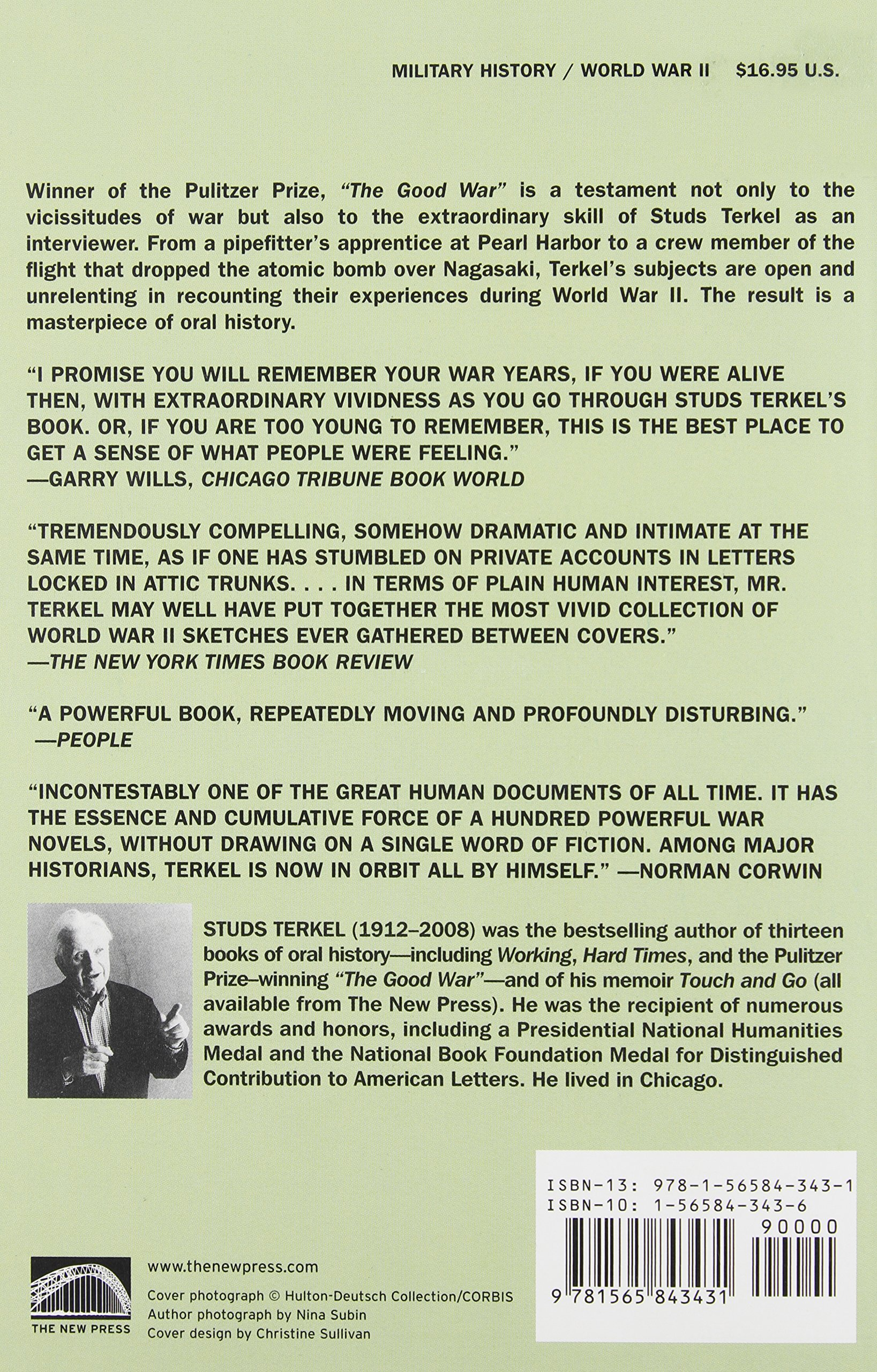 Amazon: The Good War: An Oral History Of World War Ii (9781565843431):  Studs Terkel: Books