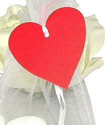 EinsSein 50x Geschenkanhänger Herz rot schimmernd Geschenkkärtchen Tischkarten Hochzeit Party