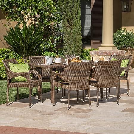 Del Mar Patio Furniture 7 Piece Outdoor Patio Mixed Mocha Wicker Dining Set