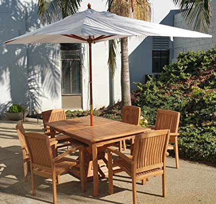 New Wooden 10 Ft Rectangle Sunbrella Fabric Any Color Outdoor Umbrella  (6.5u0027 X 10
