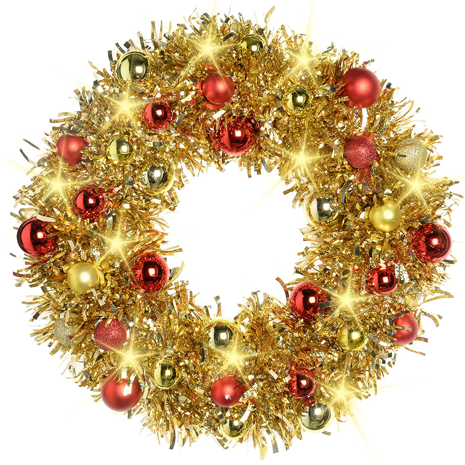 WeRChristmas 36 cm Pre-Lit Tinsel Wreath with Baubles 20-LED Lights Christmas Decoration, Gold/ Red