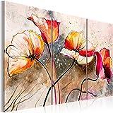 Cuadro en Lienzo Grande Formato Impresion en calidad fotografica! Cuadro en lienzo tejido-no tejido 3 partes flores 22353 120x80 cm B&D XXL