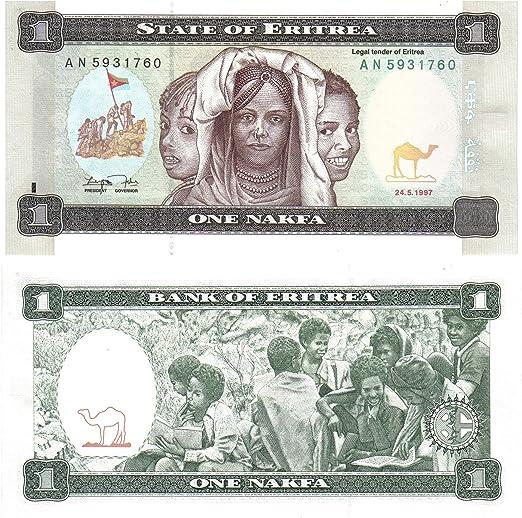 Eritrea billete uno nakfa emitida por Banco de Eritrea para los coleccionistas de billetes / 1997: Amazon.es: Juguetes y juegos