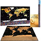 Scratch Off World Map With EBook   Detailed Cartographic Poster, Glossy Finish, Easy To Scratch & Wall Hang   Decorate Home, Make The Best Gift To A Traveler & World Explorer 32in x 23in