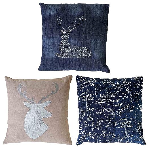 Juego de 3 - Cojín de decoración ciervos + Texto, sofá cojín ...
