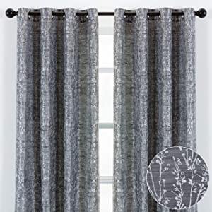 Chanasya 2-Panel Floral Jacquard Textured Dark Gray Curtains with Grommets for Windows Living Room Bedroom Office - Partial Room Darkening Drapes for Privacy and Decor - 52 x 63 Inch Long - Dark Gray