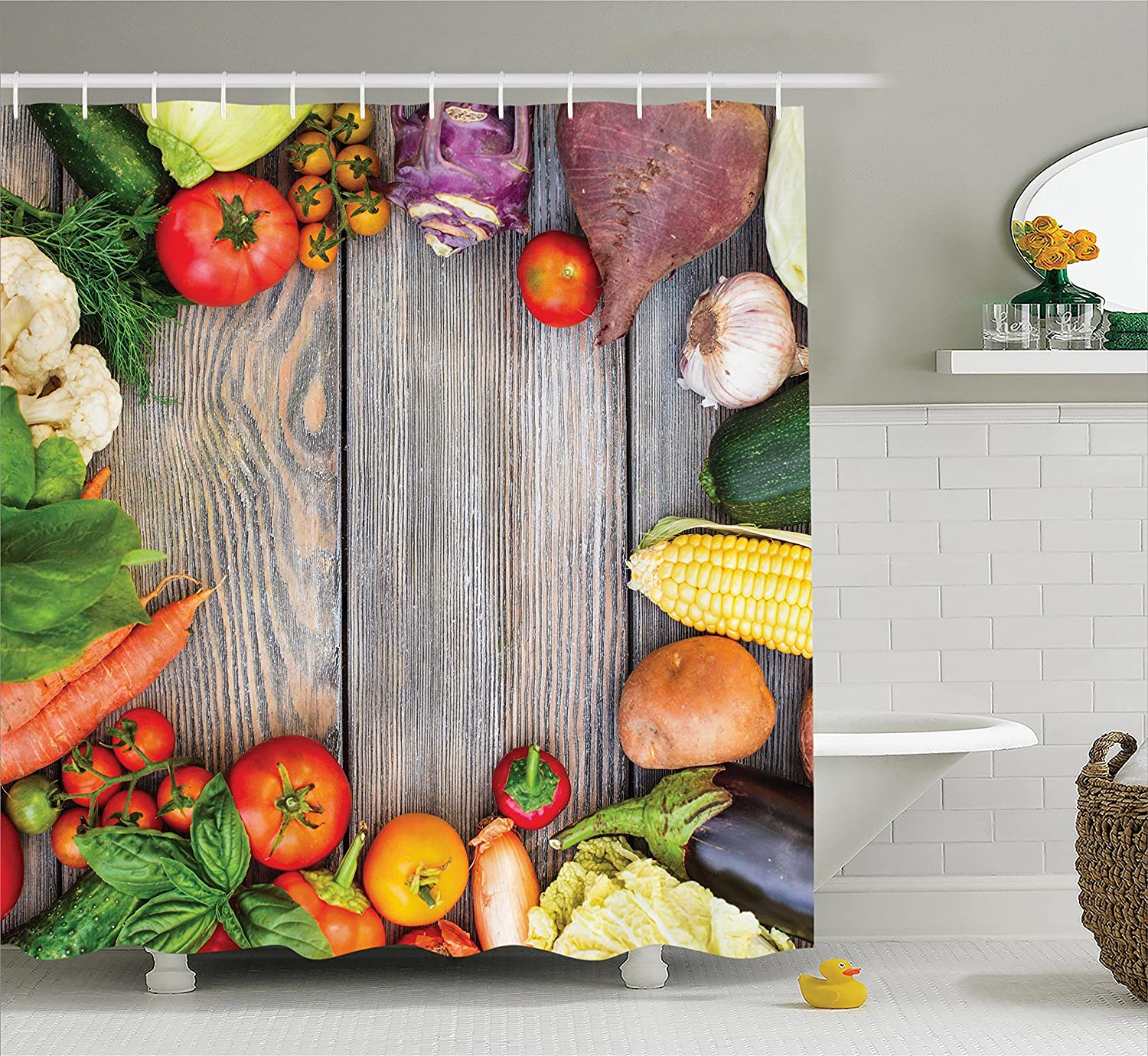 Ambesonne Farmhouse Decor Collection, Various Vegetables on a Wooden Table Carrot Corn Cucumber Cabbage Agriculture Image, Polyester Fabric Bathroom Shower Curtain Set with Hooks, Red Yellow