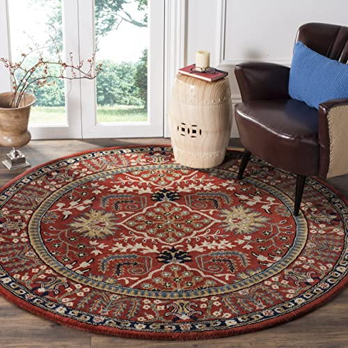 Safavieh Antiquities Collection AT64A Handmade Traditional Red and Multi Round Area Rug 6 Diameter