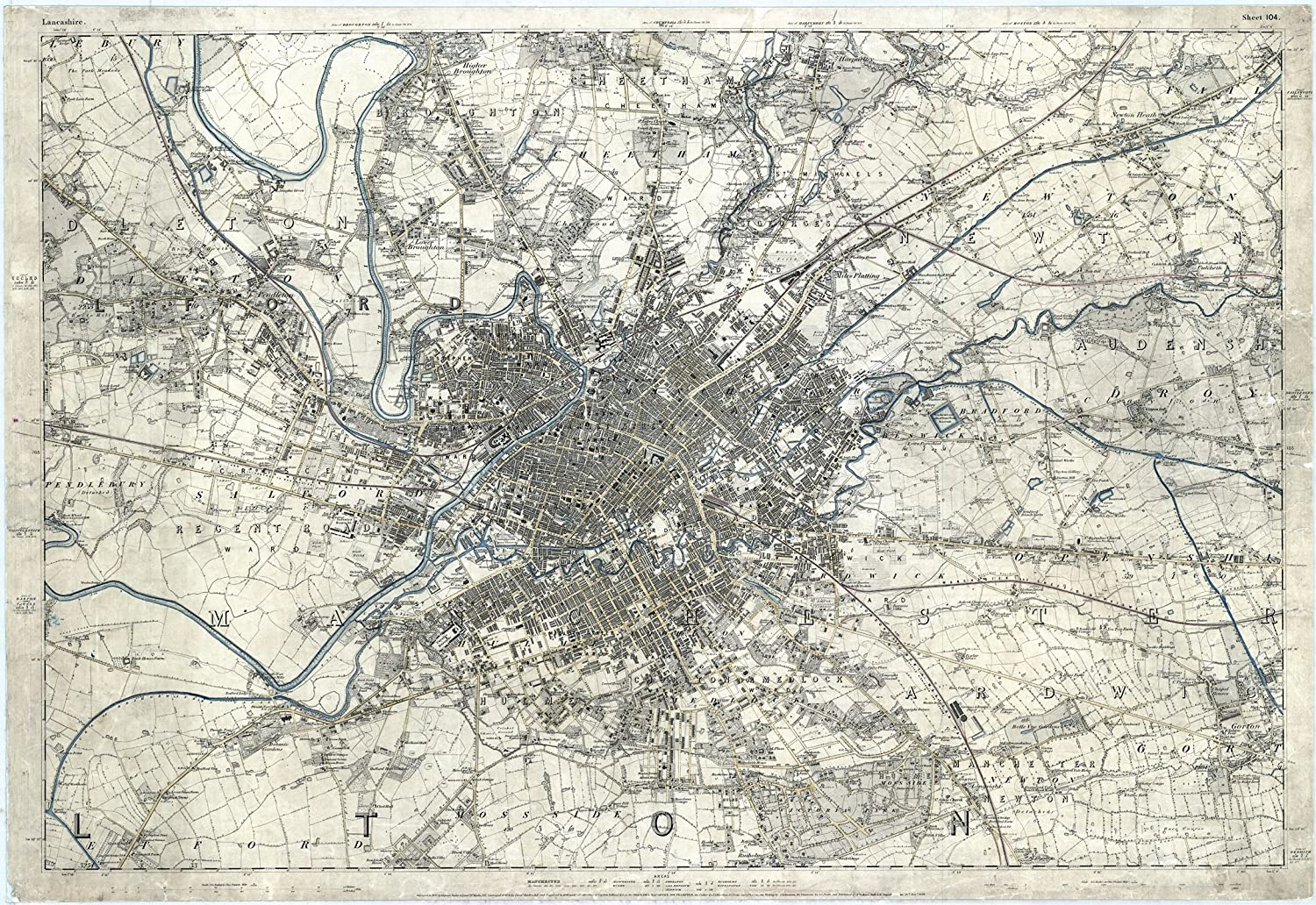 Size 130 x 90 cm 1848 Map of Manchester APPROX