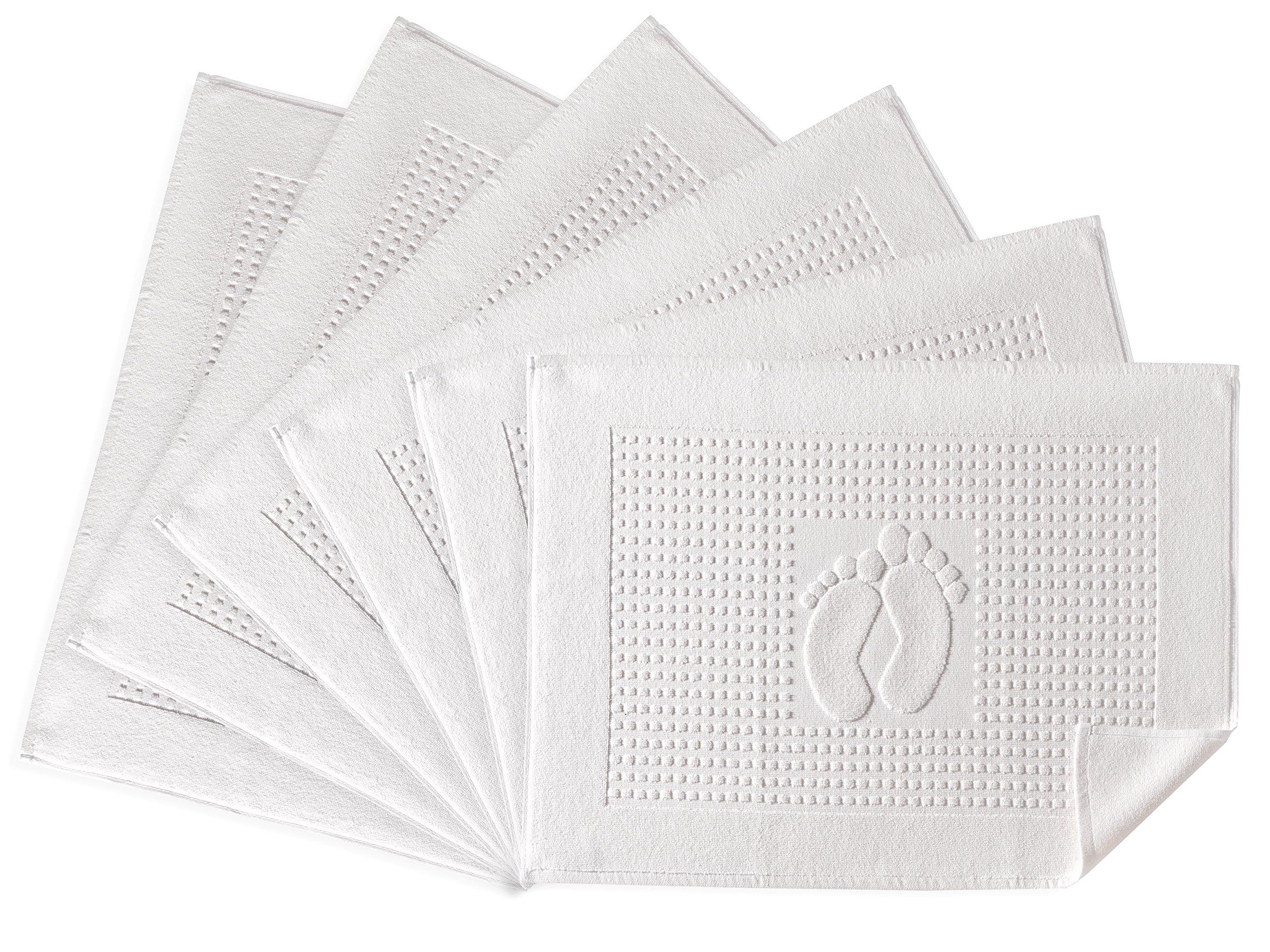 Bath Rug Bathroom Floor Mats - Washable Bathtub Shower Sink Floor Towels - 100% Turkish Cotton Bath Mat Foot Towels (6, Cream)