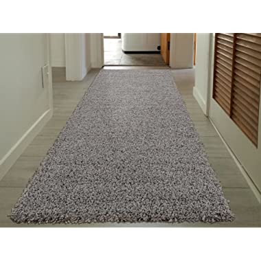Sweet Home Stores Cozy Shag Collection Solid Shag Rug Contemporary Living & Bedroom Soft Shaggy Runner Rug, Grey